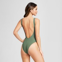 Women's Ribbed Lace Up One Piece - Xhilaration™ Army Green