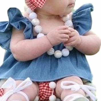 Adorable Little Baby Girls 2Pcs Off the Shoulder Denim Blue Ruffle Chiffon Top with Red Gingham Hairbow