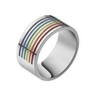2017 NEW LGBT Gay Jewelry Rainbow Rings for Men Accessories Stainless Steel Wedding Party Engagement Love Ring Anel