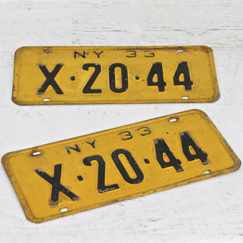 Vintage New York License Plates, 1933 New York License Plates, 2 Matching New York License Plates, Old New York License Plates