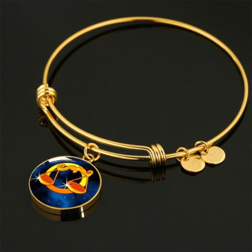 Zodiac Sign Libra - 18k Gold Finished Bangle Bracelet