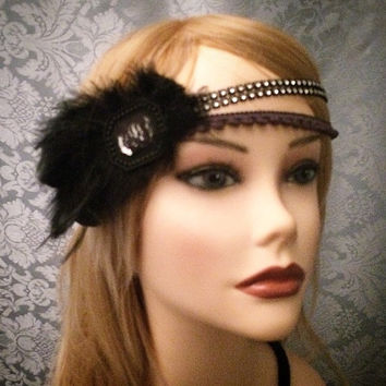 Crystal Black Lace Covered Mirror Glass Art Deco Brooch Flapper Gatsby inspired Feather flapper Headband Wrap Head Costume 1920s 20s style