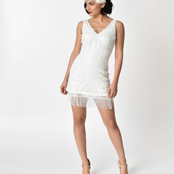 1920s Style White Sequin Fringe Cocktail Dress