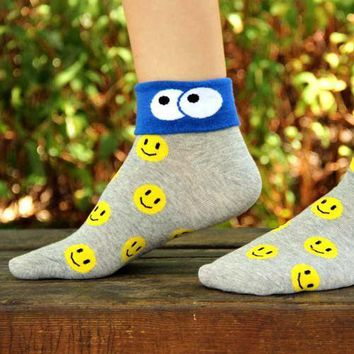 Smiley Face Googly Eye Flip Short Cotton Socks for Women in Grey | DOTOLY