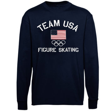 US Figure Skating Fired Up Long Sleeve T-Shirt - Navy Blue