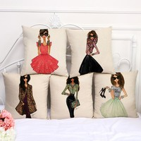 """Cotton Linen Square 18"""" Fashion Lady Printed Sofa Decorative Cushion Covers Beauty Girls Living Room Chair Pillow Case"""