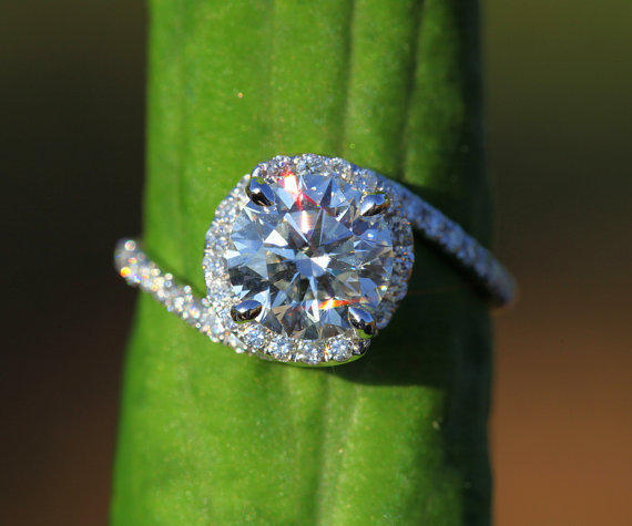 14k White gold - Diamond Engagement Ring from BeautifulPetra on 0a42852e5