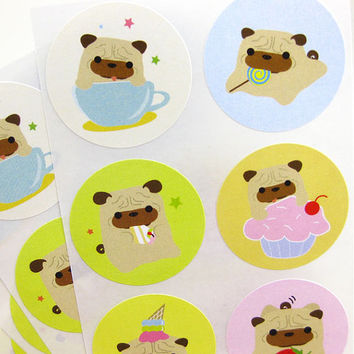 Pug Stickers Ball-Z Sweet Treat (1.5 inch circle, 6 designs, 30 labels) STKM064