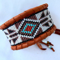 Native American Beaded Genuine Deerskin Cuff Bracelet ~ MADE to ORDER ~ Unisex Geometric Arrow, Black Red White Turquoise & Copper Beadwork