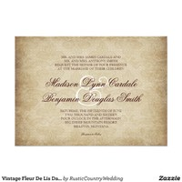 Vintage Fleur De Lis Damask Wedding Invitations from Zazzle.com