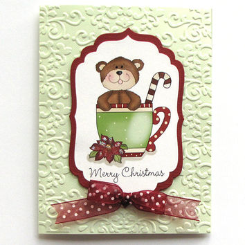 Christmas Bear Card, Hand crafted card, Greeting Card, teddy bear Christmas card, embossed card