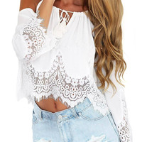 White Crop Top With Lace Details not available