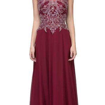 Burgundy Appliqued Long Formal Dress High Neckline