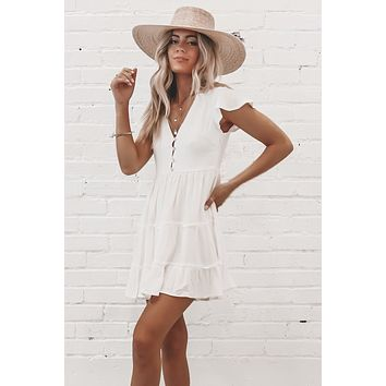 It Was Always You White Ruffle Dress