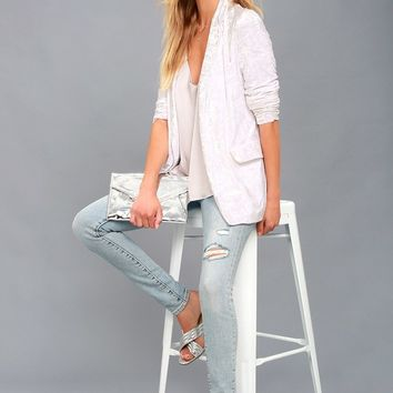 Back to Your Heart White Velvet Blazer