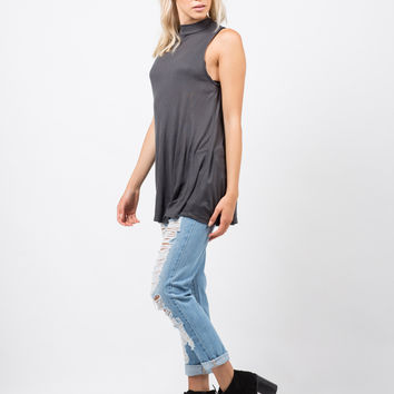 Ribbed Shift Tunic Top - Large