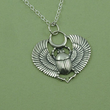 Egyptian Scarab Necklace - sterling silver scarab pendant - scarab jewelry - sacred Egyptian jewelry