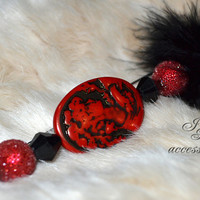 Fashion hand-decorated safety pin to adorn Hats and Jackets, close Cardigan and Scarves - Color Red and Black - (SPL11)