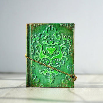 Small notebook Mini journal Mini book Mini spell book Miniature journal Mixed media journal Old notebook sharm Textured cover notebook Green