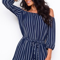 Sizzlin' Summer Off The Shoulder Romper - Navy