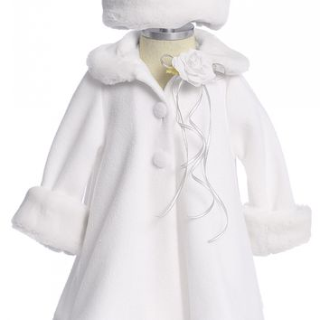 White Fleece & Fur Trimmed Girls Dress Coat w. Hat 3m-24m