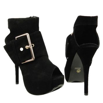 Womens Ankle Boots Suede Gold Buckle Peep Toe High Heel Shoes Black SZ
