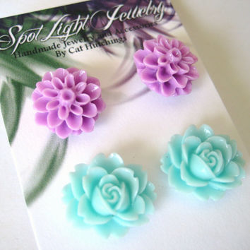 Flower Earring Stud Set - Light Blue Purple Jewelry Small Flower Earrings