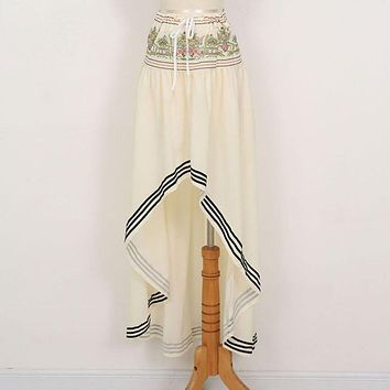 Boho Style Chiffon Long Skirt Women Maxi Beach Asymmetric Wrap Baggy Female Summer Skirts
