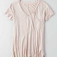 AEO Soft & Sexy V-Neck Pocket T-Shirt, Gray