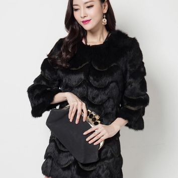 2016 New Fashion Women Genuine Rabbit Fur Coat Natural Rabbit fur Jacket Women Slim Fur Coat