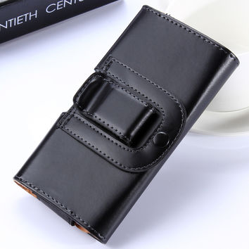 5.5 Belt Clip Holster Case For iPhone 7 6 6S Plus 4S 5 5S Samsung S7 S7edge S5 S6 Note 2 3 4 Sony Z1 Z2 Z3 Z4 Man Leather Cover