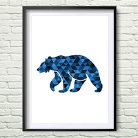 Bear, Animal Art, Geometric Animals, Blue Prints, Bear Art, Navy Wall Art, Printable Art, Bear Print, Geometric Blue Bear, Wall Prints *177*