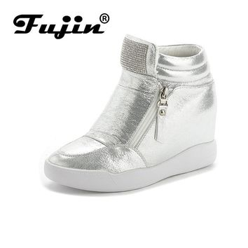 Fujin Brand autumn winter platform wedge heel boots Women Shoes with increased platform sole female fashion casual zip botas