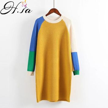 H.SA Women Winter Dresses Long Pullover and Jumpers Colorful Patchwork Knitted Korean Sweater Dress Loose Robe Dress Femme