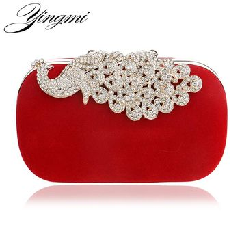 YINGMI Peacock Diamonds Metal Evening Bag Long Chain Shoulder Handbags Rhinestones Wedding Bridal Purse Clutch Bag For Wedding