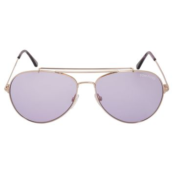 Tom Ford Indiana Aviator Sunglasses FT0497 28Y 60