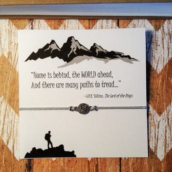 Lord of the Rings Inspired Bracelet with Card | Tolkien Quote | Compass Bracelet