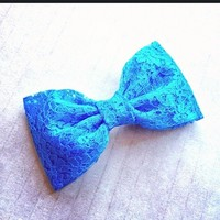 Turquiose Lace hair fabric bow from Bowlicious Divas Bowtique