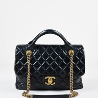 "Chanel Black Glazed Leather Quilted Large ""Castle Rock"" Flap Bag"