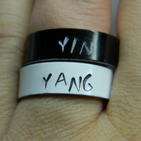 black and white YIN YANG a PAIR of  aluminum rings 1/4 inch