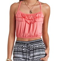 Strappy Ruffle Crop Top by Charlotte Russe - Coral