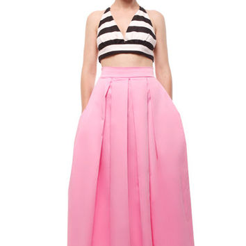 Pink long maxi floor-length pleated skirt with pockets, custom made long skirt, pink long skirt, prom long skirt, bridesmaid skirt