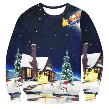 Women's Patterns of Reindeer Snowman Christmas Ugly Christmas 3D Sweater Santa Claus Cute Print Pullover Sweater Jumper Outwear