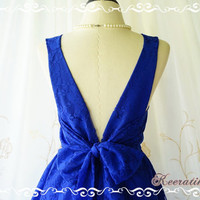 A Party V Charming Dress Roses Royal Blue Lace Dress Backless Prom Party Dress Lace Wedding Bridesmaid Dress Royal Blue Party Dresses XS-XL