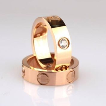 3 Color Stainless Steel Gold Plated Ring Unisex's Ring Valintine's Gift