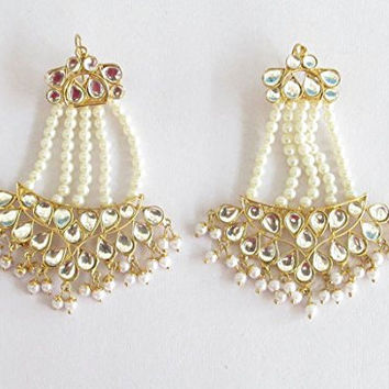 Wedding Gold Kundan White Beads Jhoomer Earrings /Indian Jadau Earrings/Golden Bollywood Earrings/ Punjabi Mughal Muslim Style Earrings