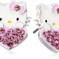 Hello Kitty Girls October Crystal Birthstone Heart Stud Earrings