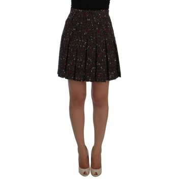 Dolce & Gabbana Multicolor A-Line Wool Tweed Skirt