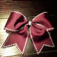 Maroon rhinestone traced cheer bowmore colors by BowsByEm on Etsy