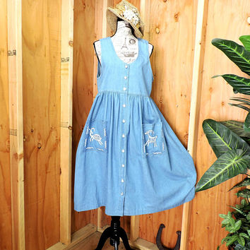 Denim jumper Dress / size M / 8 / 12 / boho tribal prairie loose fit denim dress /  long denim jumper dress / denim summer maxi dress